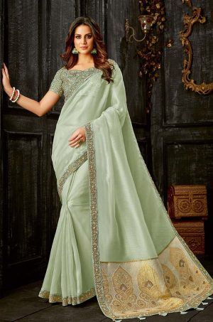 Party Wear Saree With Blouse & Embellished Borde- c.green colour
