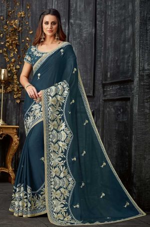Party Wear Saree With Blouse & Embellished Borde- blue colour