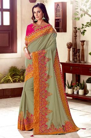 Traditional Saree With Desingner Contrast Blouse & Embellished Border- pink & olive green colour
