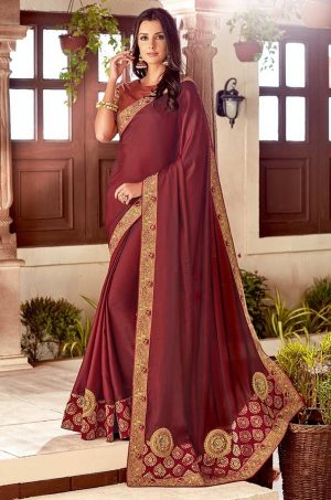 Traditional Saree With Desingner Contrast Blouse & Embellished Border- maroon & copper colour