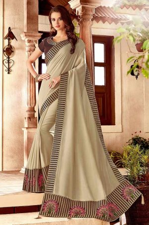 Traditional Saree With Desingner Contrast Blouse & Embellished Border- cream & coffee colour