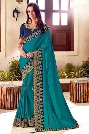 Traditional Saree With Desingner Contrast Blouse & Embellished Border- rama & royal blue colour