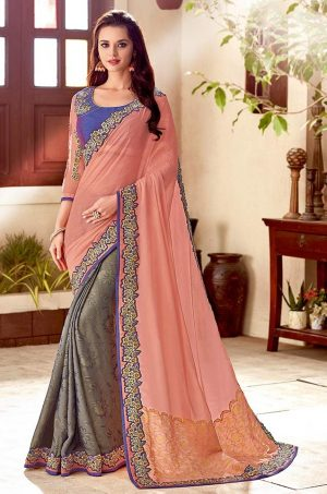 Traditional Half N Half Saree With Desingner Contrast Blouse & Embellished Border- peach,purple & grey colour
