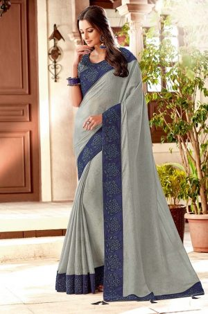 Traditional Saree With Desingner Contrast Blouse & Embellished Border- grey & blue colour