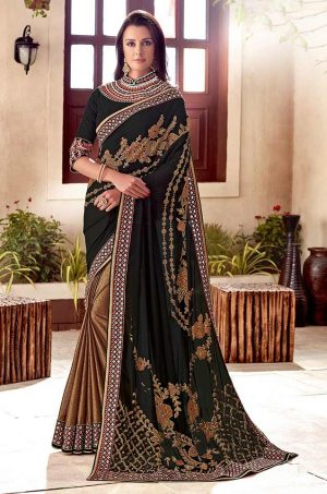 Traditional Half N Half Saree With Desingner Contrast Blouse & Embellished Border- black & gold colour