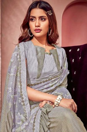 Party Wear redy to wear Saree With Blouse & Embellished Border- grey colour