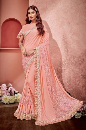 Party Wear redy to wear Saree With Blouse & Embellished Border- peach colour
