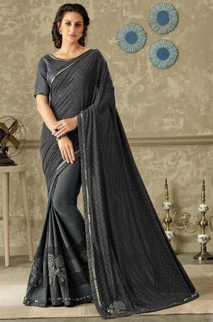 Party Wear Saree With Blouse & Embellished Border- black & grey colour