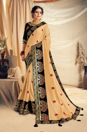 Traditional Saree With Desingner Contrast Blouse & Embellished Border- black & cream colour