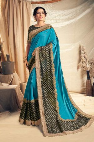 Traditional Saree With Desingner Contrast Blouse & Embellished Border- black & blue colour