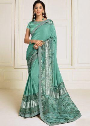 Party Wear Designer Saree- Zari Handwork Butta- Sequins Embroidery Work Sarees With Designer Blouse -Embellished border – Sea Green