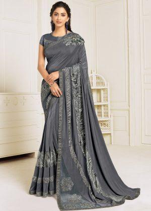 Party Wear Designer -Zari Handwork Butta -Sequins Embroidery Work Saris With Designer Blouse -Embellished Border- Grey