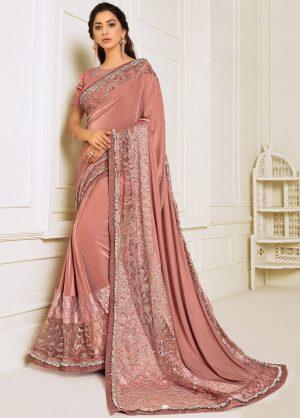 Party Wear Designer Saree- Zari Handwork Butta -Sequins Embroidery Work Saris With Designer Blouse -Embellished Border- Rose Pink