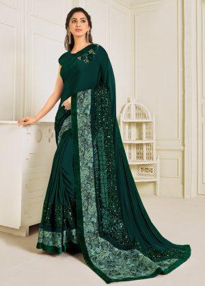 Party Wear Designer Saree -Zari Handwork Butta -Sequins Embroidery Work Sarees -With Designer Blouses Embellished Border- Dark Green
