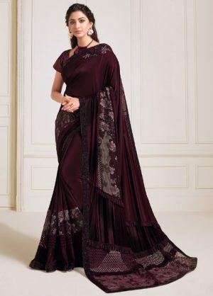 Party Wear Designer Saree -Zari Handwork Butta -Sequins Embroidery Work Sarees With Designer Blouse -Embellished Border – Wine