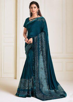 Party Wear Designer Saree Zari, Handwork Butta -Sequins Embroidery Work Sarees With Designer Blouses -Embellished Border – Teal Blue