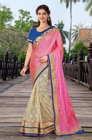 Traditional half n half Saree With contrast Blouse & Embellished Border- pink & blue colour
