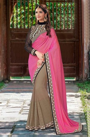 Traditional half n half Saree With contrast Blouse & Embellished Border- black & gajari colour