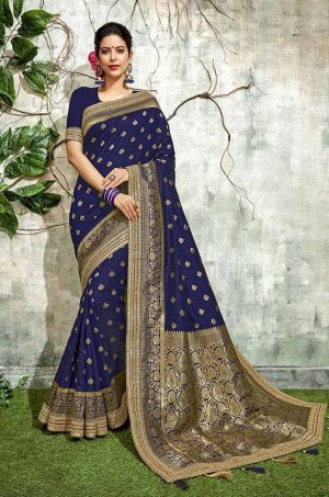 Traditional Silk Saree With Contrast Blouse & Embellished Border- royal blue colour