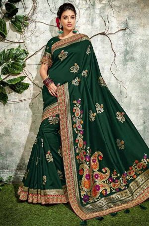 Traditional Silk Saree With Contrast Blouse & Embellished Border- dark green colour