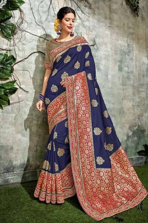 Traditional Silk Saree With Contrast Blouse & Embellished Border- red,gold & blue colour