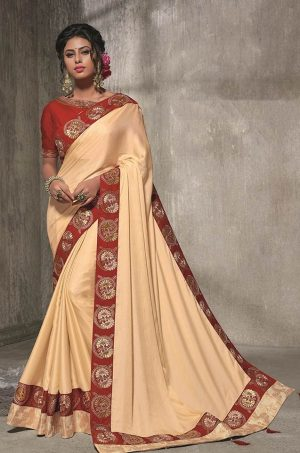 Traditional Silk Saree With Contrast Blouse & Embellished Border- red & cream colour