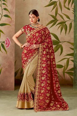 Traditional half n half Silk Saree With Contrast Blouse & Embellished Border- red & cream colour