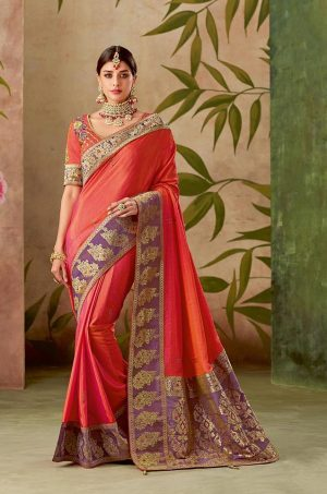 Traditional Silk Saree With Contrast Blouse & Embellished Border- purple & orange colour