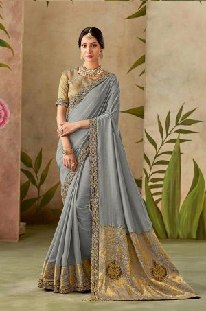 Traditional Silk Saree With Contrast Blouse & Embellished Border- grey colour