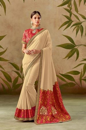 Traditional Silk Saree With Contrast Blouse & Embellished Border- red & beige colour