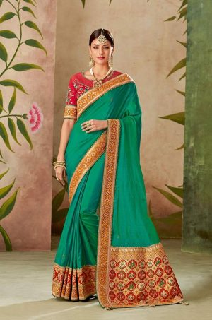 Traditional half n half Silk Saree With Contrast Blouse & Embellished Border- pink & green colour