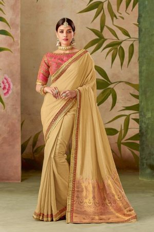 Traditional half n half Silk Saree With Contrast Blouse & Embellished Border- beige & pink colour