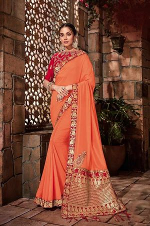Traditional Silk Saree With Contrast Blouse & Embellished Border- red & orange colour