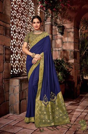 Traditional Silk Saree With Contrast Blouse & Embellished Border- blue & golden colour
