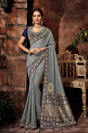 Traditional Silk Saree With Contrast Blouse & Embellished Border- grey & blue colour