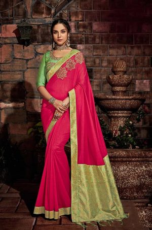 Traditional Silk Saree With Contrast Blouse & Embellished Border- pink & green colour