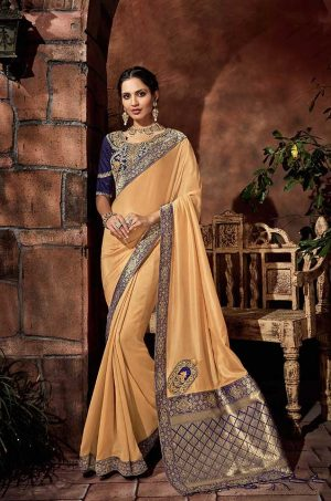Traditional Silk Saree With Contrast Blouse & Embellished Border- blue & yellow colour