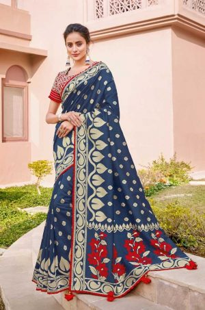 Traditional Banarasi Silk Saree With Contrast Blouse & Embellished Borde-n.blue & red colour