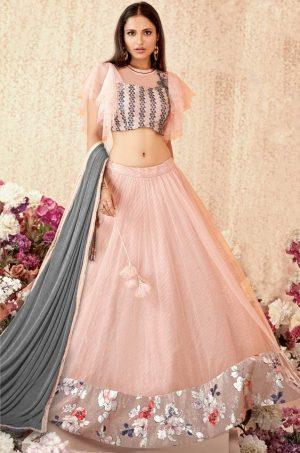 Fusion Lehengas,Net,Raw Silk & Lycra Fabrics- Pink & Grey colour