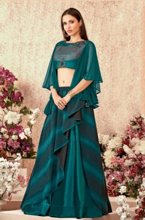 Fusion Lehengas With Atteched Dupatta Net,Tissue,Silk & Lycra Fabrics- Green colour