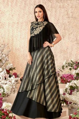 Fusion Lehengas With Atteched Dupatta,Net,Raw Silk & Lycra Fabrics- Black colour