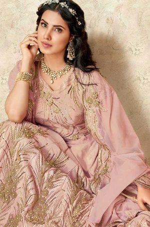 Ethnic Wear Lehengas,tissue & Silk Fabrics- pink colour