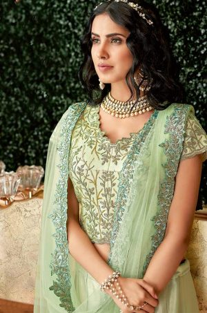 Ethnic Wear Lehengas,Net & Silk Fabrics- Pastel green colour