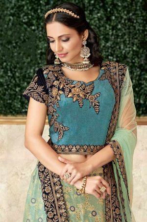 Ethnic Wear Lehengas,Net & Silk Fabrics- blue & dark Blue colour