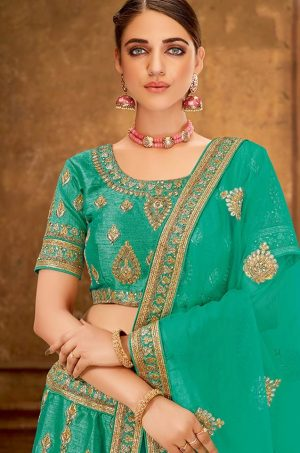 Desingner Ethnic Wear Lehengas, Silk & Net Fabrics- sea blue colour