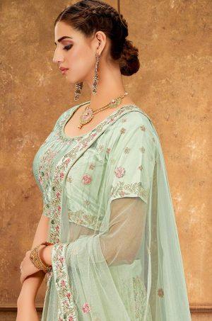 Desingner Ethnic Wear Lehengas, raw Silk & Net Fabrics- pastel green colour