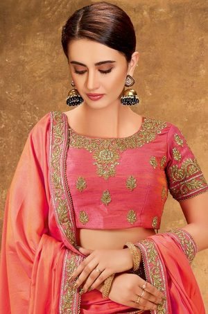 Ethnic Wear Lehengas,Net & Silk Fabrics- Peach & Pastel Blue colour