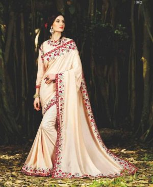 Antique White Crepe Chiffon Sarees with embrodery work