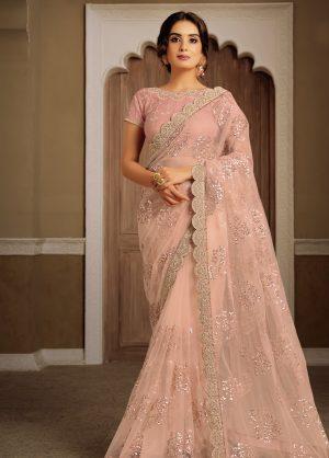 Party Wear desingner zari , resham & Sequins work Sarees With Designer Blouses & embellished border – peach