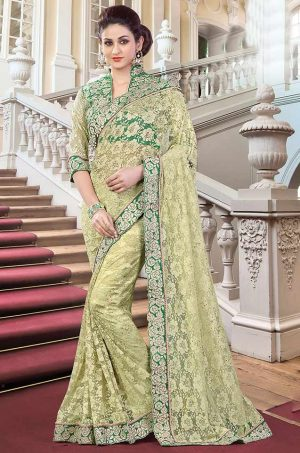 Traditional Saree With Blouse & Embellished Border- green colour